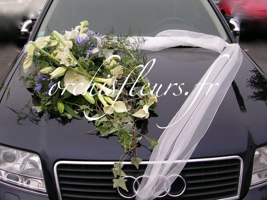 dcoration de voiture fleuriste bois darcy - Decoration Capot Voiture Mariage